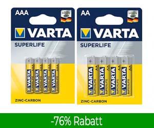 Varta-Batterien: Bis zu 83% Rabatt